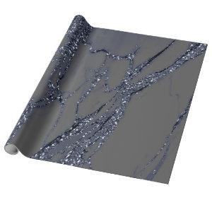 Gray Blue Navy Graphite Glitter Marble Stone Lux Wrapping Paper