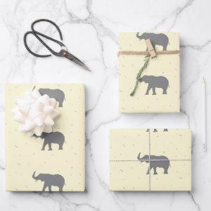 Gray elephant silhouette pattern wrapping paper sheets