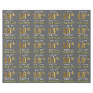 """Gray, Faux Gold """"HAPPY 18th BIRTHDAY"""" Wrapping Paper"""