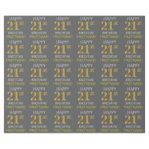 """Gray, Faux Gold """"HAPPY 21st BIRTHDAY"""" Wrapping Paper"""