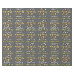 """Gray, Faux Gold """"HAPPY 75th BIRTHDAY"""" Wrapping Paper"""