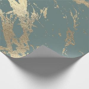 Gray Mint Foxier Gold Marble Shiny Glam Wrapping Paper