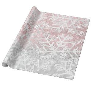Gray  Pink Glitter Christmas Holiday Snowflake Joy Wrapping Paper