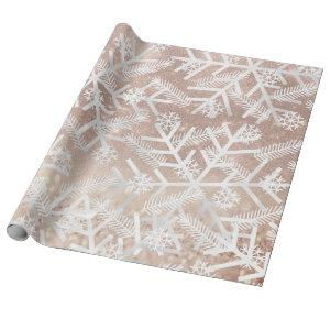Gray Rose Glitter Christmas Holiday Snowflake Joy Wrapping Paper