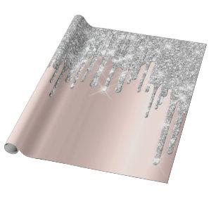 Gray Rose Gold Blush Spark Powder Drips Glitter Wrapping Paper