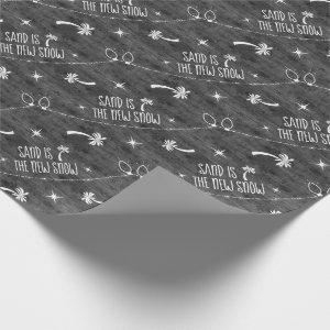 Gray Rustic Palm Trees Holiday Pattern Sand & Snow Wrapping Paper