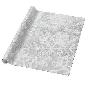 Gray Silve Glitter Christmas Holiday Snowflake Joy Wrapping Paper