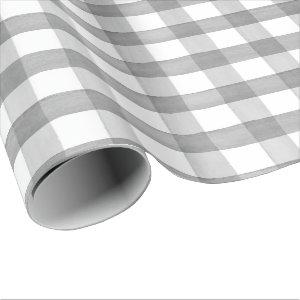 Gray Watercolor Buffalo Plaid Wrapping Paper