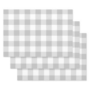 Gray White Gingham Check Plaid Neutral Farmhouse Wrapping Paper Sheets