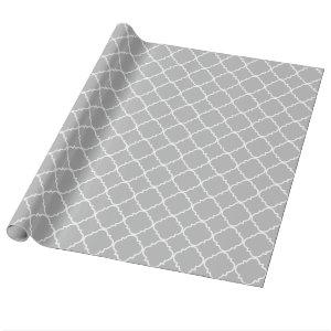 Gray White Large Quatrefoil Pattern Wrapping Paper