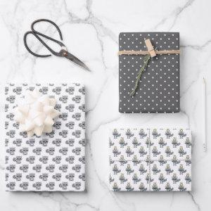 Gray Woodland Raccoon Animals Wrapping Paper Sheets