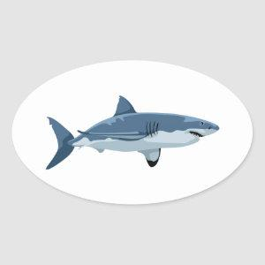 Great White Shark Oval Sticker