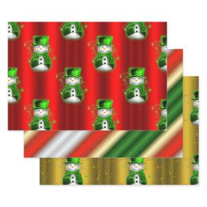 Green and Red Christmas Wrapping Paper Sheets