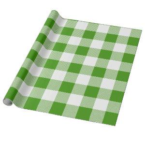 Green and White Buffalo Plaid Wrapping Paper