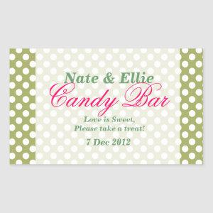 Green and white  dotty Candy Bar Sticker