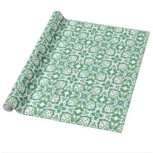 Green and white Floral Pattern Wrapping Paper