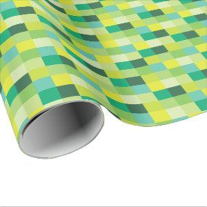 Green and Yellow Pixelated Pattern | Pixel Art Wrapping Paper