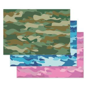 Green blue and pink army camo camouflage pattern wrapping paper sheets