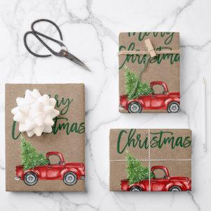 Green Brush Script Christmas Truck Kraft Style Wrapping Paper Sheets