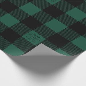 Green Buffalo Check Plaid Personalized Holiday Wrapping Paper