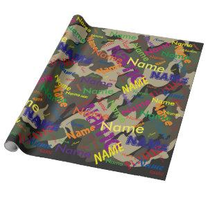Green Camo Add Name Custom Wrapping Paper
