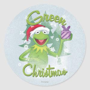 Green Christmas Classic Round Sticker