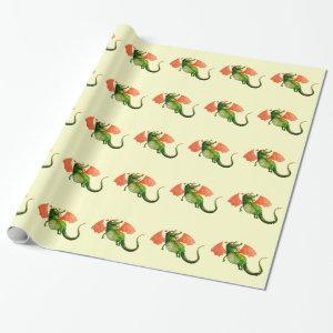 Green Dragon with Donut Wrapping Paper