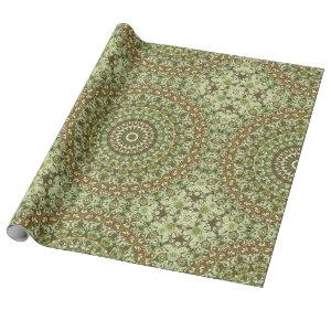Green Earthy Kaleidoscopic Medallion Pattern Wrapping Paper