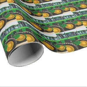 Green Farm Tractors Pattern Wrapping Paper
