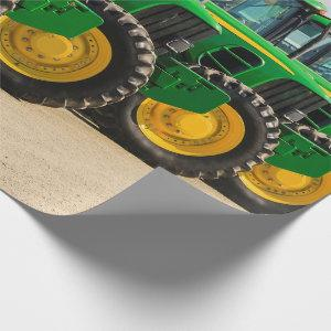 Green Farm Tractors Wrapping Paper