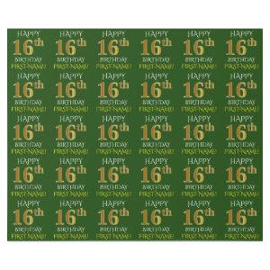 """Green, Faux Gold """"HAPPY 16th BIRTHDAY"""" Wrapping Paper"""
