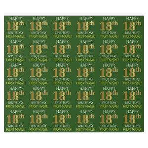 """Green, Faux Gold """"HAPPY 18th BIRTHDAY"""" Wrapping Paper"""