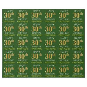 "Green, Faux Gold ""HAPPY 30th BIRTHDAY"" Wrapping Paper"