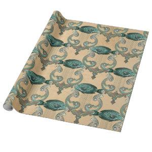 Green Fish and Harps on Tan Wrapping Paper