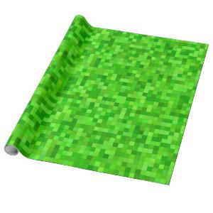 Green Gamer Pixels Birthday Party Wrapping Paper