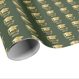 Green Gold Class of 2020 Graduate Cap Graduation Wrapping Paper