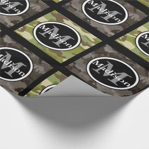 Green & Gray Camouflage w/Name & Monogram Wrapping Paper
