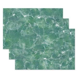 Green Marble Wrapping Paper Sheets