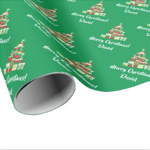 Green Merry Christmas Tree wrapping paper