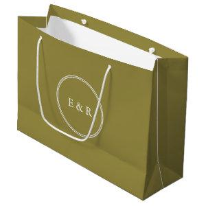 Green Olive Solid Color Trend Large Gift Bag