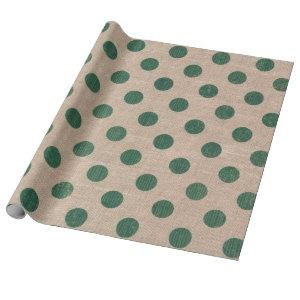 Green Polka Dot Burlap Style Gift Wrapping paper