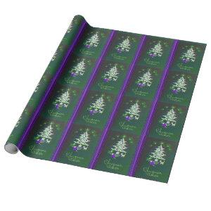 Green Purple Tree Christmas Vintage Wrapping Paper
