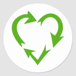 Green Recycle Heart Classic Round Sticker