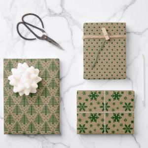 Green Rustic Farmhouse Combination Christmas Wrapping Paper Sheets