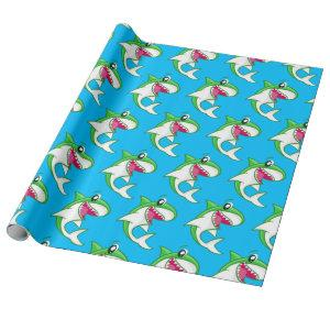 Green Shark Cute Kids Birthday Pool Party Wrapping Paper