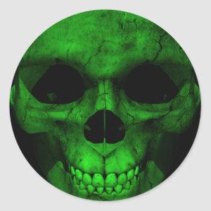 Green Skull with Black Background 2 Classic Round Sticker