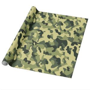 Green Tan Black Camouflage Pattern Background Wrapping Paper