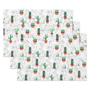 Green Terracotta Cactus Pots Splatter Pattern Wrapping Paper Sheets