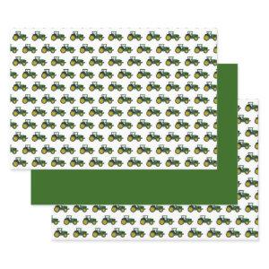 Green Tractor Birthday Wrapping Paper Sheets