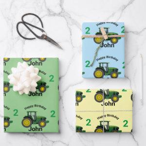 Green Tractor Little Boy's Name & Age Gift Wrapping Paper Sheets